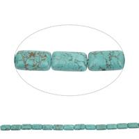 Ontruiming Turquoise kralen, Synthetische Turquoise, Rechthoek, 20x12x6mm, Gat:Ca 1mm, Ca 19pC's/Strand, Per verkocht Ca 15 inch Strand
