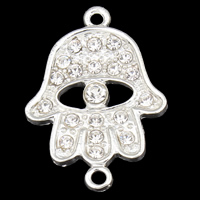 Hamsa Zinc Alloy Connector, silver color plated, Islamic jewelry & with rhinestone & 1/1 loop, clear, lead & cadmium free, 21x29x3.50mm, Hole:Approx 1mm, 10PCs/Bag, Sold By Bag