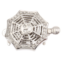 Zinc Alloy Box Clasp, Octagon, platinum color plated, single-strand, lead & cadmium free, 21x15x6mm, Hole:Approx 1mm, 10PCs/Bag, Sold By Bag