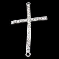 Krzyż złącze ze stopów cynku, Stop cynku, Platerowane w kolorze srebra, z kamieniem & kółko1/1, przejrzysty, bez zawartości ołowiu i kadmu, 27x46x2mm, otwór:około 1mm, 10komputery/torba, sprzedane przez torba