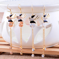 Zinc Alloy Dangle Earring, with Cubic Zirconia, stainless steel earring hook, swallow, gold color plated, with Czech rhinestone & enamel, more colors for choice, nickel, lead & cadmium free, 19x79mm, 10Pairs/Lot, Sold By Lot