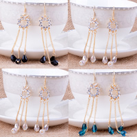 Zinc Alloy Tassel Earring, with Crystal, stainless steel earring hook, gold color plated, with Czech rhinestone & faceted, more colors for choice, nickel, lead & cadmium free, 15x78mm, 10Pairs/Lot, Sold By Lot