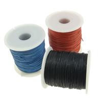 Шнуры из воска, Вощеная хлопок шнур, с пластиковые катушки, разноцветный, 1mm, 10ПК/Лот, 100Дворы/PC, продается Лот