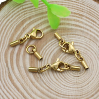 Stainless Steel Lobster Claw Cord Clasp real gold plated with end cap 6.5x2.5x2mm 24mm Hole:Approx 1.5mm 10Sets/Lot