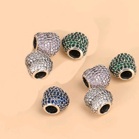 925 Sterling Silver European Beads, Heart, micro pave cubic zirconia & without troll, mixed colors, 11.83mm, Hole:Approx 5mm, 2PCs/Lot, Sold By Lot