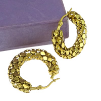 Stainless Steel Hoop Earring Component, gold color plated, 8x33x34mm, Inner Diameter:Approx 2.5mm, 10Pairs/Lot, Sold By Lot