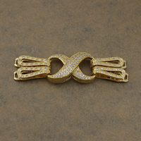 Brass Snap Clasp, Infinity, real gold plated, micro pave cubic zirconia, nickel, lead & cadmium free, 73.5mm, 34x19.5x8.5mm, 24x8x6.5mm, Hole:Approx 3x2mm, 4x1.5mm, 5PCs/Lot, Sold By Lot