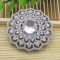 Cubic Zirconia Micro Pave Brass Connector Flower platinum plated micro pave cubic zirconia   multi loops   faceted nickel lead   cadmium free 38x38x10.50mm Hole:Approx 1.5mm 5PCs/Lot