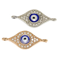 Evil Eye Connector, Brass, plated, micro pave cubic zirconia & epoxy sticker & 1/1 loop, more colors for choice, nickel, lead & cadmium free, 23x10x2.50mm, Hole:Approx 1mm, 20PCs/Lot, Sold By Lot