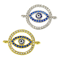 Evil Eye Connector, Brass, plated, micro pave cubic zirconia & epoxy sticker & 1/1 loop, more colors for choice, nickel, lead & cadmium free, 20x14x3mm, Hole:Approx 1mm, 20PCs/Lot, Sold By Lot