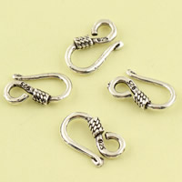 Thailand Sterling Silver Clasp Hook, 8.20x13.90x2.50mm, Hole:Approx 2.5mm, 30PCs/Lot, Sold By Lot