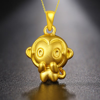 24K Gold Pendant, Monkey, 14x22mm, Hole:Approx 3mm, Sold By PC