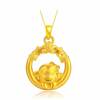 24K Gold Pendant, 15.90x25.40x6.70mm, Hole:Approx 3mm, Sold By PC