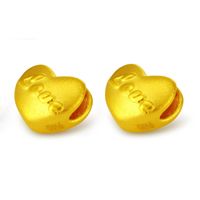 24K Gold Beads, Heart, word love, 7x6.80mm, Hole:Approx 3.9mm, Sold By PC