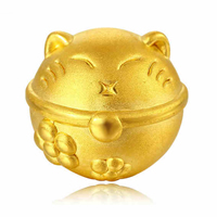 24K Gold Beads, Fortune Cat, 11.50x10.50x11.90mm, Hole:Approx 4mm, Sold By PC