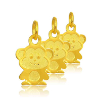 24K Gold Pendant, Monkey, 8.20x13.60mm, Hole:Approx 3mm, Sold By PC