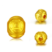 24K Gold Beads, 10mm, Hole:Approx 3mm, Sold By PC