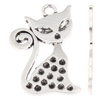 Zinc Alloy Pendant Rhinestone Setting Fox antique silver color plated lead   cadmium free 24x38x2mm Hole:Approx 2mm Inner Diameter:Approx 2x4mm 1mm Approx 30PCs/Bag