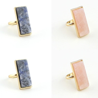 Natural Gemstone Finger Ring with Zinc Alloy Rectangle gold color plated different materials for choice 10x25mm US Ring Size:6.5