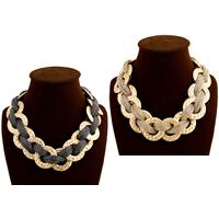 CCB Ожерелья, Пластик с медным покрытием, с Хлопковый шнурок, с 3lnch наполнитель цепи, Много цветов для выбора, 40mm, длина:Приблизительно 19 дюймовый, 5пряди/Лот, продается Лот