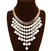 Ожерелья из стекла, цинковый сплав, с Стеклянный жемчуг, с 2lnch наполнитель цепи, плакирован золотом, не содержит никель, свинец, 130mm, длина:Приблизительно 17 дюймовый, 5пряди/Лот, продается Лот
