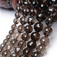 Natural Smoky Quartz Beads, Round, 64-sided & faceted, Grade AAAAA, 10mm, Hole:Approx 1mm, Approx 35PCs/Strand, Sold Per Approx 15.5 Inch Strand