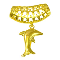 Zinc Alloy Pinch Bail, Dolphin, gold color plated, nickel, lead & cadmium free, 17x25x8mm, 30x17.5x7.5mm, 1mm, Hole:Approx 7.5x6mm, 50PCs/Lot, Sold By Lot