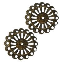 Железо Прокладка, Форма цветка, Покрытие под бронзу старую, 25x1.50mm, отверстие:Приблизительно 1.5mm, 500ПК/Лот, продается Лот