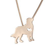 Zinc Alloy Jewelry Necklace, Dog, rose gold color plated, box chain, nickel, lead & cadmium free, 25x23mm, Length:Approx 18 Inch, 3Strands/Lot, Sold By Lot
