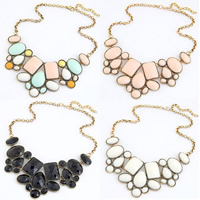 Fashion Statement Necklace Zinc Alloy with iron chain   Resin with 5.5cm extender chain antique gold color plated rolo chain   faceted nickel lead   cadmium free 40cm Sold Per Approx 15.5 Inch Strand