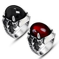 Gemstone Stainless Steel Finger Ring with Agate natural   different materials for choice blacken 19.50x14.50mm 5PCs/Lot