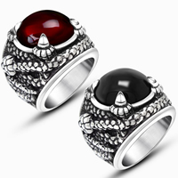 Gemstone Stainless Steel Finger Ring with Agate natural   different materials for choice for man   blacken 16.50x16.50mm 5PCs/Lot