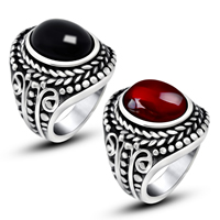 Gemstone Stainless Steel Finger Ring with Agate natural   different materials for choice for man   blacken 13.50x10mm 6PCs/Lot