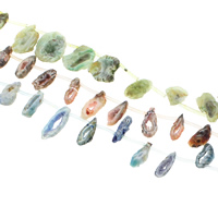 Druzy Koraliki, Agat kwarc lodowy, Naturalne, styl druzy, dostępnych więcej kolorów, 11x25x6mm-18x45x5mm, otwór:około 1.5-2mm, około 19komputery/Strand, sprzedawane na około 15.5 cal Strand
