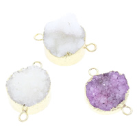 Druzy Connector Ice Quartz Agate with Brass gold color plated natural   druzy style   mixed   1/1 loop 30x20x11mm-30x20x20mm Hole:Approx 3mm 5PCs/Bag