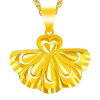 24 K Gold Color Plated Pendant Brass Leaf 24K gold plated flower cut   vacuum protective color 22x17mm Hole:Approx 3x5mm 10PCs/Lot