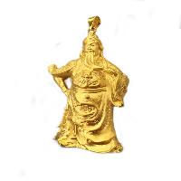 24 K Złoty Kolor Plated wisiorek, Mosiądz, Guan Gong, pozłacane 24-karatowym złotem, próżniowe ochronny kolor, 45x68mm, otwór:około 3x5mm, 2komputery/wiele, sprzedane przez wiele