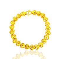 24 -каратного золота Цвет позолоченный браслет, Латунь, Сердце, Позолоченные 24k, цветочный отрез & вакуум защитные цвета, 187mm, длина:Приблизительно 7.3 дюймовый, 10пряди/Лот, продается Лот