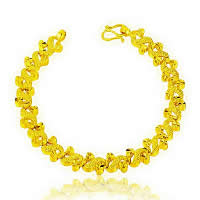 24 -каратного золота Цвет позолоченный браслет, Латунь, Позолоченные 24k, вакуум защитные цвета, 90mm, длина:Приблизительно 7.4 дюймовый, 10пряди/Лот, продается Лот