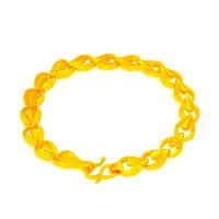 24 -каратного золота Цвет позолоченный браслет, Латунь, Каплевидная форма, Позолоченные 24k, вакуум защитные цвета, 7mm, длина:Приблизительно 6.5 дюймовый, 10пряди/Лот, продается Лот