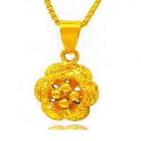 24 K Gold Color Plated Pendant Brass Flower 24K gold plated vacuum protective color 10x12mm Hole:Approx 3x5mm 10PCs/Lot