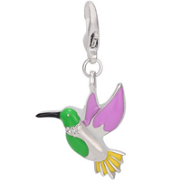 Zinc Alloy Lobster Clasp Charm, Bird, silver color plated, enamel & with rhinestone, nickel, lead & cadmium free, 31x34mm, 12PCs/Lot, Sold By Lot