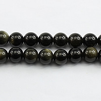 Musta Obsidian Helmet, Pyöreä, erikokoisia valinnalle, Reikä:N. 1mm, Pituus:N. 15.5 tuuma, Myymät erä