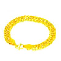 24 -каратного золота Цвет позолоченный браслет, Латунь, Позолоченные 24k, вакуум защитные цвета & Снаряженная цепь, 10mm, длина:Приблизительно 8.7 дюймовый, 5пряди/Лот, продается Лот