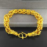 24 -каратного золота Цвет позолоченный браслет, Латунь, Дракон, Позолоченные 24k, Византийский цепь & вакуум защитные цвета, 10mm, длина:Приблизительно 8.6 дюймовый, 3пряди/Лот, продается Лот