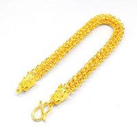 24 -каратного золота Цвет позолоченный браслет, Латунь, Дракон, Позолоченные 24k, вакуум защитные цвета, 8mm, длина:Приблизительно 8.6 дюймовый, 2пряди/Лот, продается Лот