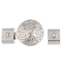 Zinc Alloy Snap Button Bracelet Clasp, platinum color plated, with rhinestone, lead & cadmium free, 32x20x18mm,  10x13x8mm, Hole:Approx 10x5mm, 2/Set, Sold By Set