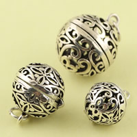 Hollow Brass Pendants, Round, antique silver color plated, different size for choice, lead & cadmium free, Sold By PC