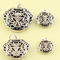 Hollow Brass Pendants, Longevity Lock, antique silver color plated, different size for choice, lead & cadmium free, Sold By PC