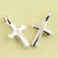 Krzyż wisiorki mosiądz, Platerowane prawdziwym srebrem, bez zawartości ołowiu i kadmu, 7x13x2mm, otwór:około 1.5mm, sprzedane przez PC